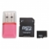 2GB Micro SD Card + SD Card Adapter + Mini Card Reader Pink
