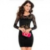 Fashionable Sexy Hollow-out Hip-Hugger Nightclub Long Sleeves Lace Lady Dress Black Free Size